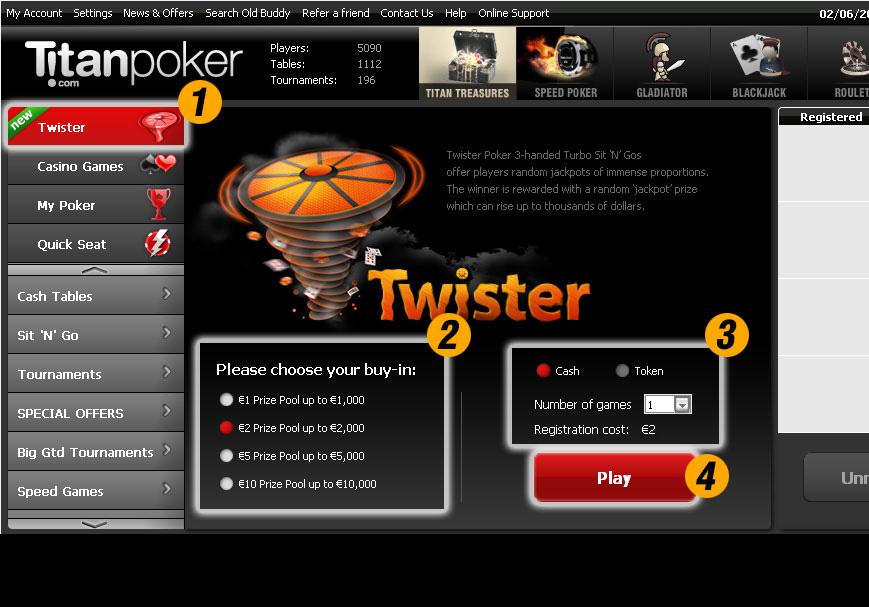 Лотерейный формат покера Twister
